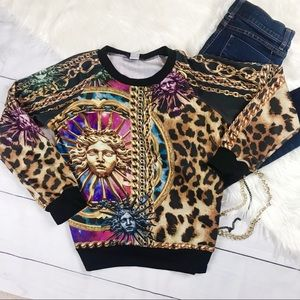 Tmani Sweatshirt Chain Sun Cheetah Hipster Shirt